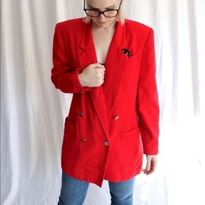 Vintage Red Karen Scott Double-Breasted Blazer